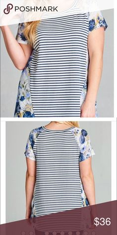 Curvy Floral Top Round neck, loose-fit top with short sleeves in a pencil stripe French terry. Classic stripes combined with flattering floral sleeves and sides will be one of your favorite wardrobe pieces this season.  FEATURES:  Striped part 52% Polyester, 48% Rayon Floral part: 100% Polyester Made in the USA Sizes fit: 1XL(14/16 ) 2XL (18/20) 3XL (22/24) Model is wearing 1XL Tops Tees - Short Sleeve