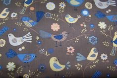 Kinder Deko Baumwollstoff Vögel Vogel Piepmatz Blumen Punkte Meterware