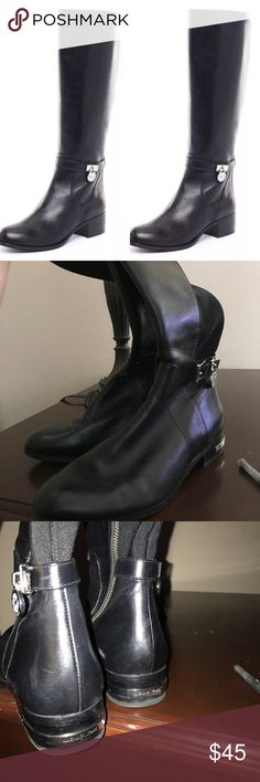 Michael Kors Hamilton Riding Boots 6.5 Like new size 6.5 black leather with stretch panel & silver hardware side zip Shoes