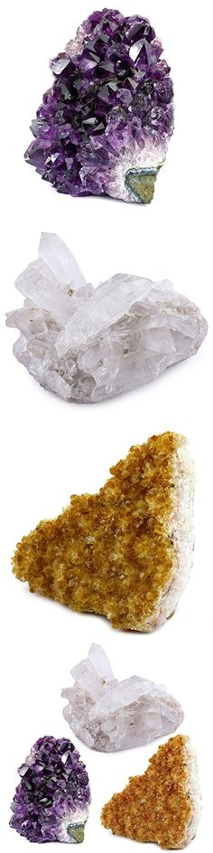 Crystal Allies Specimens: 3 Mineral Starter Pack w/ Natural Amethyst, Citrine, Crystal Quartz Druzy Clusters from Brazil - 1/2lb to 1lb Total