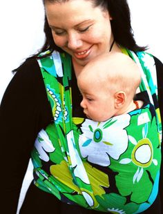 Baby Wrap Carrier Woven Cotton Gauze Green Floral by BabyEtte, $48.00