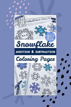 Want a cute and fun way to practice addition and subtraction facts to 10? These snowflake coloring pages are a great introduction to a discussion of patterns, composing and decomposing numbers and more. Get them FREE! #snowflakes #wintermath #educationalkidsactivity #elementarymath #homeschoolmath #snowflakemath #addition #subtraction Elementary Math, Kindergarten Math, Teaching Math, Teaching Tips, Educational Activities For Kids, Math Activities, Math Resources, Math Talk, 2nd Grade Math