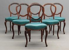SOLD 6 Antique French Balloon Back Chairs Curved Legs Nail Heads Carved Wood Gorgeous Dining Room Chairs
