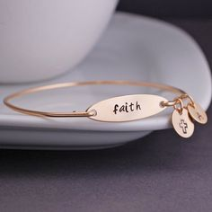 Faith Bracelet Personalized Faith Jewelry Cross by georgiedesigns