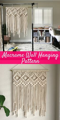 I found this cute Macrame Wall Hanging Pattern and now I can't wait to try it out and create my own! | Macrame Patterns/Macrame Pattern/ Macrame Wall Hanging Pattern/Wall Hanging/Modern Macrame/Pattern/DIY/Craft #diyprojects #diyhomedecor #diydecor #diyprojectsforteens #macramewallhanging #macramepatterns #afflink