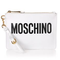 Moschino Logo Zip Pouch (645 BAM) ❤ liked on Polyvore featuring bags, handbags, clutches, bolsos, leather pouch purse, moschino purse, leather purses, white clutches and real leather handbags