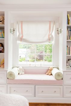 Love this scones and pillow set up for window seat - roman shades twins' room Room, Girls Bookshelf, Interior, Home, Bedroom Design, Girl Room, Childrens Bedrooms, Bedroom, Window Seat