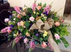 Beautiful casket spray for a woman who loved gardening.