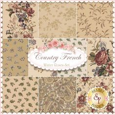 Country French 10 FQ Set - Winter Roses by Maywood Studio Fabrics: Country French is a floral fabric collection by Maywood Studio Fabrics. 100% Cotton. This set contains 10 fat quarters, each measuring approximately 18