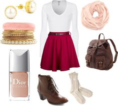 """pretty in pink for fall"" by alitee123 on Polyvore"