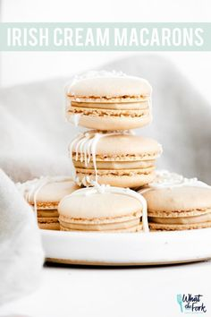 This fun spin on a basic macaron from What the Fork is a delicious way to start off fall. These Baliey's Irish Cream infused macarons are stuffed with a delicious cream cheese filling, and they're easier than they look! Make these delectable desserts for any holiday get together. This recipe is a decadent treat that so many people love! Gluten Free Baking, Gluten Free Desserts, Gluten Free Recipes, Baking Recipes, Delicious Desserts, Dessert Recipes, Yummy Food, Gf Recipes, Baking Ideas