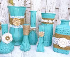 Turquoise RUSTIC SHABBY CHIC Vases with Burlap by SoFrickinCute