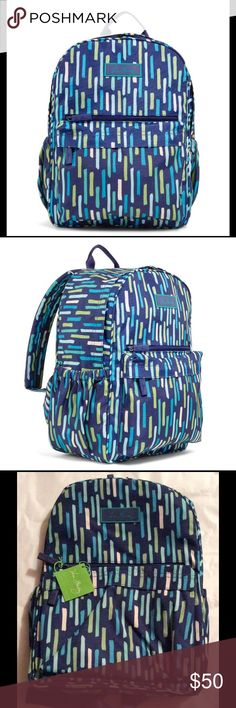 """Vera Bradley Backpack NWT 11"""" W x 15"""" H x 6""""D with 31"""" adjustable strapsand 2½"""" handle drop This style features a zip-around opening plus two front zip pockets and two side slip pockets. Its adjustable shoulder straps are padded for extra comfort. Details Zip-around opening Lightweight, durable and water-resistant printed polyester Outside, two zip pockets and two side slip pockets Back compartment with zip pocket Vera Bradley logo lining Padded, adjustable shoulder straps. Vera Bradley…"""