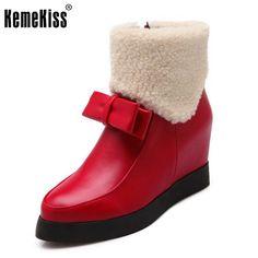Women Height Increasing Bowknot Platform Half Short Boot Warm Plush Winter Mid Calf Snow Boots Footwear Shoes Size 34-39 #Affiliate