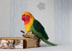 Gehaakte liefde vogel heldere papegaai huisdier speelgoed