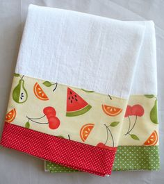 "Cute abstract fruit pattern will definitely brighten up your modern or vintage kitchen decor! Colors are green, light red, orange and black on a yellow cream background. Pattern placement may vary from photo. Aunt Martha's premium white flour sack towel with designer cotton fabric accent. Designer cotton fabric measures 4.5"" on one side; towel is hemmed on three sides with hanger loop in corner. 100% cotton. Aunt Martha's premium flour sack towel is soft, absorbent, lint-free and thicker…"
