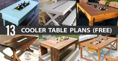 13 DIY Cooler Table Plans to Build for Outdoor Beer, Drinks or Patio Picnic (Free) Planter Box Plans, Planter Boxes, Outdoor Cooler, Picnic Cooler, Picnic Drinks, Outdoor Seating, Bird House Plans Free, Diy Cooler, Beer Cooler
