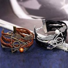 Harry Potter Deathly Hallows Leather Bracelet