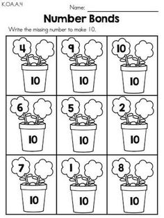 Spring Number Bonds >> Part of the Spring Kindergarten Maths Worksheets packet Spring Math Activities (Kindergarten) Kindergarten Math Activities, Kindergarten Math Worksheets, Homeschool Math, 1st Grade Worksheets, Math Literacy, Numeracy, Learning Activities, First Grade Math, Math For Kids