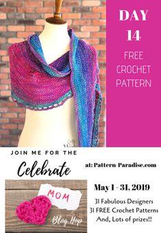 2019 Celebrate Mom Blog Hop - Day 14 Rainbow Sprinkles Crescent Shawl | Pattern Paradise