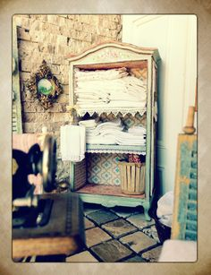 Maritza Miniatures painted linen armoire www.maritzaminiatures.com