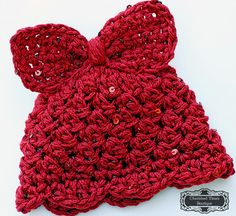 Bella Bow Sequin Crocheted Hat in Rusty Red