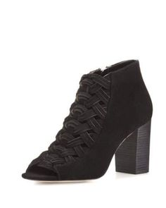 X35NS MICHAEL Michael Kors Westley Woven Suede Open-Toe Bootie, Black