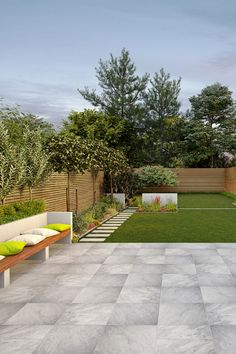 PorcelPave Quartzite Grey Stone Effect Outdoor Tiles - Porcelain Paving & Installation Products Back Garden Design, Backyard Garden Design, Patio Design, Balcony Garden, Backyard Patio, Outdoor Porcelain Tile, Outdoor Tiles, Porcelain Tiles, Patio Images
