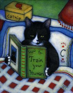 Charlie enjoys a bit of bedtime reading. Now I know how he learned to control me so well!  This is an original oil painting on 8 x 10 canvas.