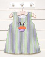 $15.00 A personal favorite from my Etsy shop https://www.etsy.com/listing/156892906/girls-jumper-dress-stripe-feetreduced