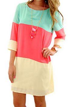 Casual Scoop Collar 3/4 Sleeve Color Block Women's Dress Casual Dresses | RoseGal.com Mobile