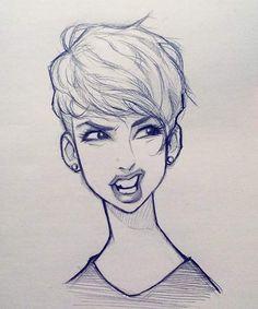 "433 Likes, 5 Comments - Cameron Mark (@cameronmarkart) on Instagram: ""#cameronmark #art #design #illustration #drawing #pixiecut #sketch #doodle"""