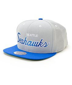 Support the reigning Superbowl Champs with a white and blue Seattle Seahawks script embroidered on a grey crown with a blue bill.