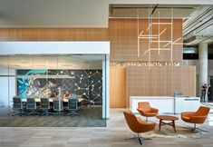 Coalesse Bob Lounge Chairs create an open lounge space in the ViaSat Offices in Austin. Commercial Office Space, Commercial Design, Commercial Interiors, Home Office Furniture, Online Furniture, Cool Furniture, Modern Furniture, Furniture Design, Lobby Interior