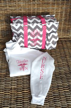 "Utility Tote & Pullover, Nurse's tote, Teacher's tote, 19"" Gray Chevron monogrammed by StitchedInStyle1 on Etsy"