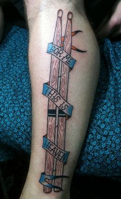 Heavenly Drum Sticks Tat http://www.pairodicetattoos.com/heavenly-drum-sticks-tat/