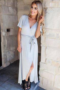 9cc64ba07e5 Grey Short Sleeve Wrap Maxi - Dottie Couture Boutique Cute Shorts