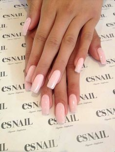 Es Nail | Light Pink Square Tip Acrylic Nails