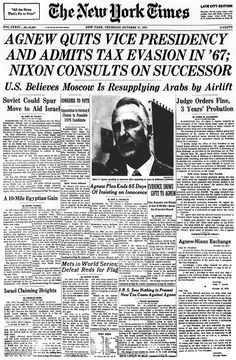 Vice President Agnew Quits  And Admits Tax Evasion. Nixon Consults On Successor