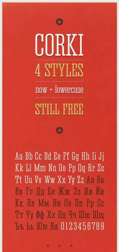 Taken from '25 free condensed for designers' is this beautiful poster for the CORKI typeface
