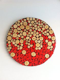 """Sliced Wood Wall Abstract Art-Home Decor-Rustic Modern 32"""" Large Round Circle"""