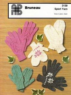 Items similar to PDF Vintage Gloves & Mittens Knitting Pattern Family Womens Ladies Men Kids Children Snowflake Motif Leafy Lacy Cable Pretty Winter Warmer on Etsy Vintage Crochet Patterns, Vintage Knitting, Baby Knitting Patterns, Hat Patterns, Knit Mittens, Knitted Gloves, Vintage Gloves, Yarn Sizes, Winter Warmers