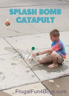 Build a catapult to shoot splash bombs or ping pong balls - this looks like so much fun for summer play!