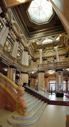 The Grand Staircase - Teatro Colón, Buenos Aires Visit Argentina, Argentina Travel, Latin America, South America, Argentine Buenos Aires, Places Around The World, Around The Worlds, Wonderful Places, Beautiful Places