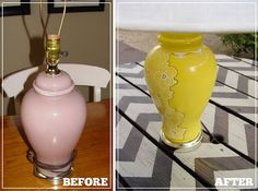 The quintessential 'ginger pot' lamp. They were everywhere back in the '80's, and they all looked pretty much the same. Kiki transformed her pink ginger pot into a one-of-a-kind creation with some yellow spray paint and paint markers from Michael's. Darling.
