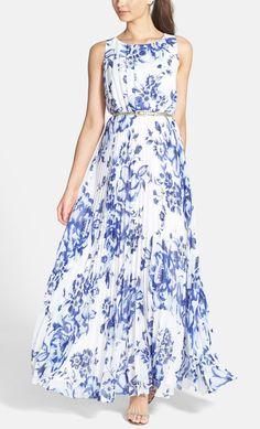 Pretty cobalt print maxi dress.