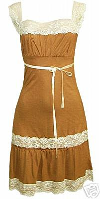 Brown Belted Scoop Neck Two Tier Lace Dress