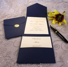 Navy Blue Wedding Invitations | Click here >> for larger photo