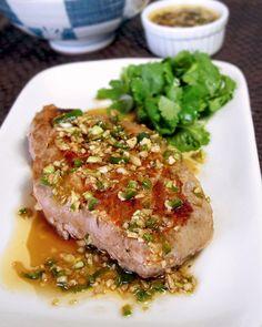 pork recipes: boneless pork chops with Asian garlic ginger dressing  pickledplum.com food recipes