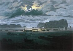 FRIEDRICH, Caspar David The North Sea in Moonlight 1823-24 Oil on canvas, 31 x 22 cm Národní Galerie, Prague